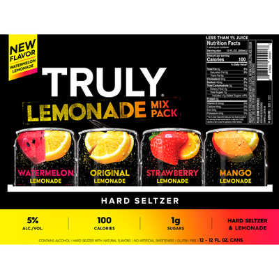 TRULY Hard Seltzer Lemonade Variety Pack, Spiked & Sparkling Water