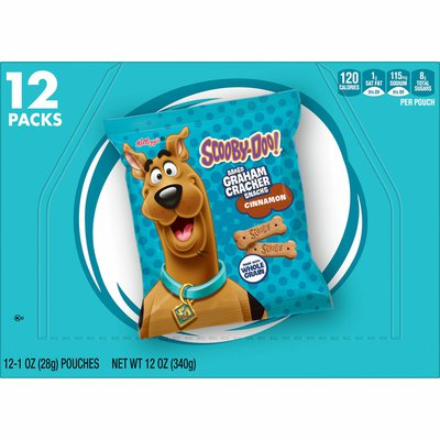 Kellogg's SCOOBY-DOO! Baked Graham Cracker Snacks, Made with Whole Grains, Kids Lunch Snacks, Cinnamon