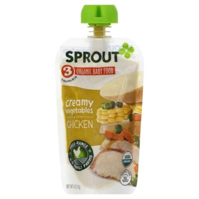 Sprout Baby Food, Organic, Creamy Vegetables with Chicken, 3 (8 Months & Up)