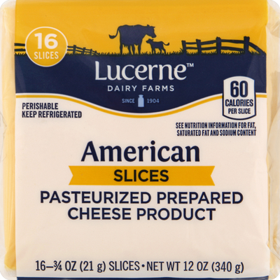 Lucerne Cheese Product, Pasteurized Prepared, Slices, American