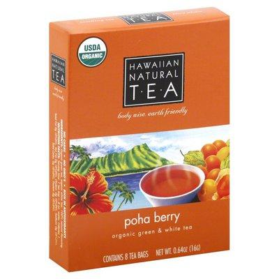 Hawaiian Natural Tea Green & White Tea, Organic, Poha Berry, Tea Bags