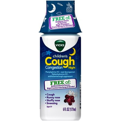Vicks Children's Cough & Congestion NIGHT Medicine, FREE OF Artificial Dyes & Flavors
