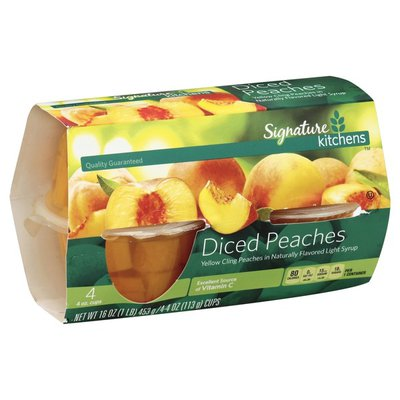 Signature Kitchens Yellow Cling Diced Peaches In 100% Fruit Juice