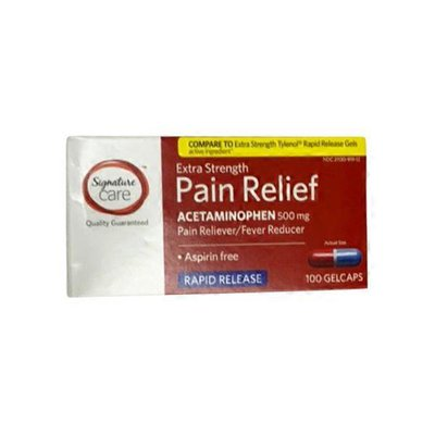 Signature Care Pain Relief, Extra Strength, 500 mg, Gelcaps