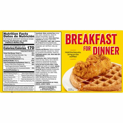 Kellogg's Nutri-Grain Frozen Waffles, Good Source of 9 Vitamins and Minerals, Original