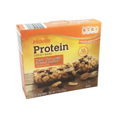 Millville Peanut Butter Dark Chocolate Protein Chewy Bars
