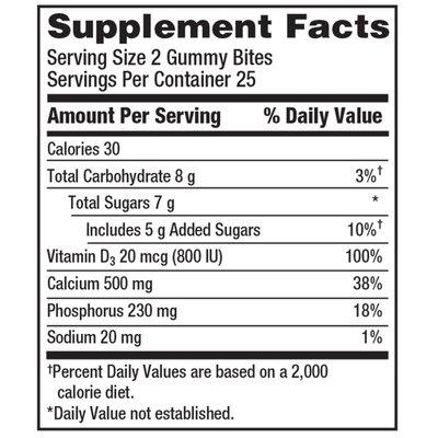 Caltrate Calcium Gummy Bites Natural Fruit Flavors, Calcium Gummy Bites Natural Fruit Flavors