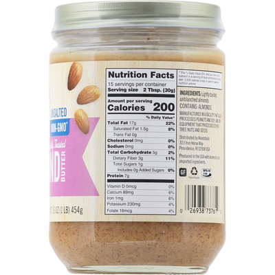 Woodstock Unsalted Non-GMO Smooth Lightly Toasted Almond Butter