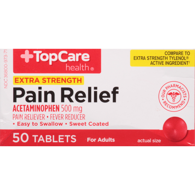 TopCare Pain Relief, Extra Strength, 500 mg, Tablets, for Adults