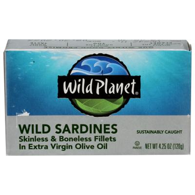 Wild Planet Wild Sardines Skinless & Boneless Fillets in Extra Virgin Olive Oil