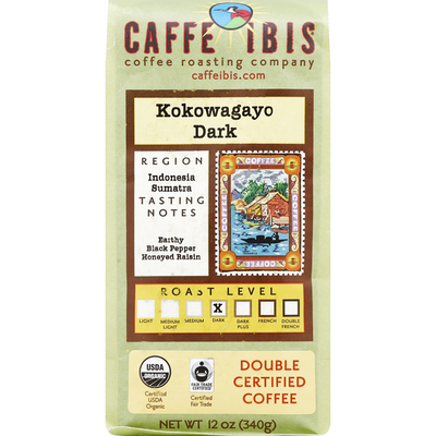 Caffe Ibis Coffee, Double Certified, Dark Roast, Kokowagayo Dark