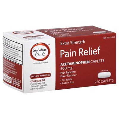 Signature Care Pain Relief, Extra Strength, 500 mg, Caplets
