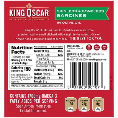 King Oscar Skinless/Boneless in Olive Oil Sardines