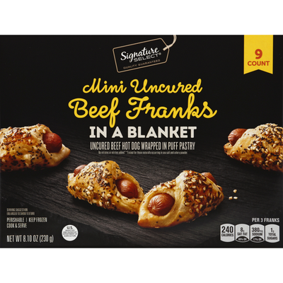 Signature Select Puff Pastry, Beef Franks in a Blanket, Mini, Uncured