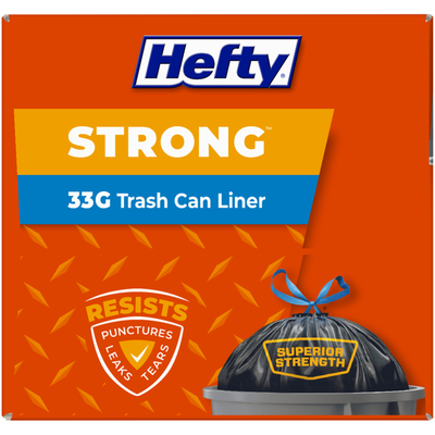 Hefty 33 Gallon Trash Can Liner Drawstring 20 ct Box