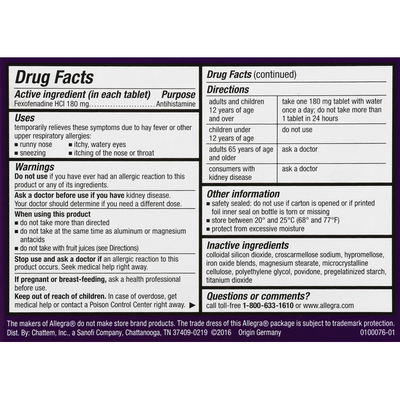 Allegra Indoor/Outdoor Allergy Relief, Non-Drowsy, Tablets