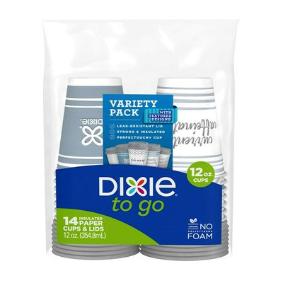 Dixie To Go Paper Coffee Cups & Lids, 12oz Disposable Hot Cups (Variety Pack)