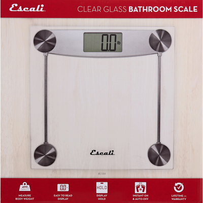 Escali Bathroom Scale, Clear Glass