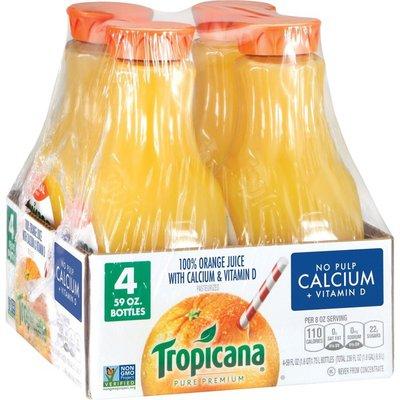 Tropicana Pure Premium  No Pulp Calcium + Vitamin D Orange Juice (-59 Fluid ) 236 Fluid    Bottles