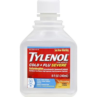 Tylenol Cold + Flu Severe Daytime Liquid, Warming Honey Lemon
