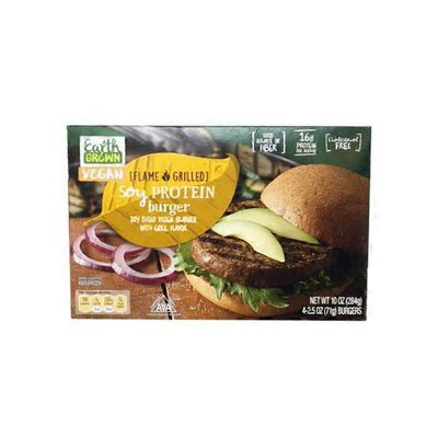 Earth Grown Vegan Soy Based Veggie Burger With Grill Flavor