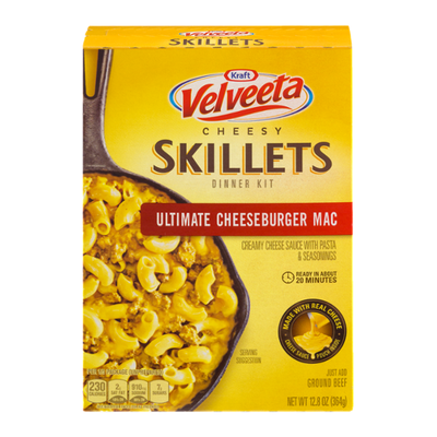 VELVEETA Ultimate Cheeseburger Mac One Pan Dinner Kit with Cheese Sauce, Pasta & Seasonings