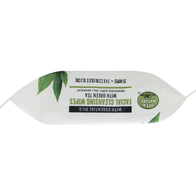 Open Nature Cleansing Wipes, Facial, with Green Tea