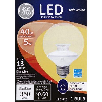 GE Light Bulb, LED, Soft White, Clear Finish, 5 Watts
