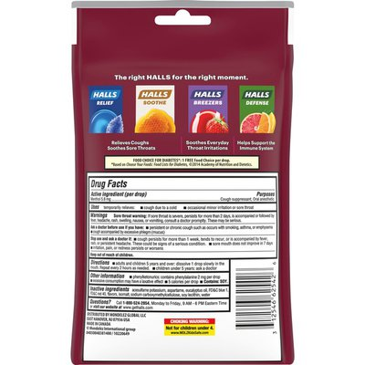Halls Sugar Free Black Cherry Flavor Cough Drops