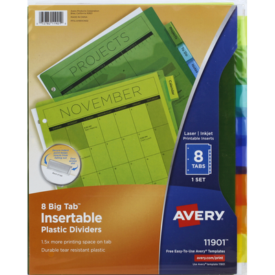 Avery Dividers, Plastic, Insertable, 8 Tabs