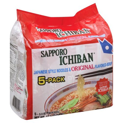 Sapporo Ichiban Noodles & Soup, Japanese Style, Original Flavored, 5-Pack