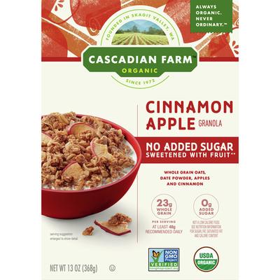 Cascadian Farm Organic Granola, Cinnamon Apple, No Added Sugar