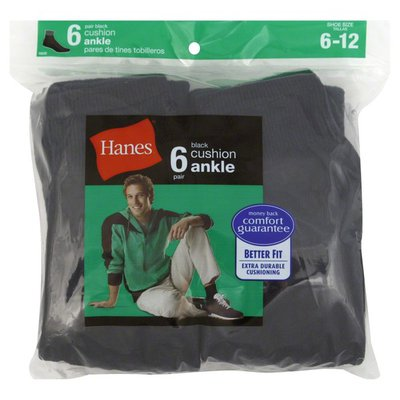 Hanes Socks, Cushion Ankle, Men's, Black