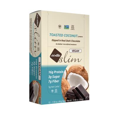 NuGo Slim Toasted Coconut, Vegan, Gluten Free, Low Sugar, Protein Bar