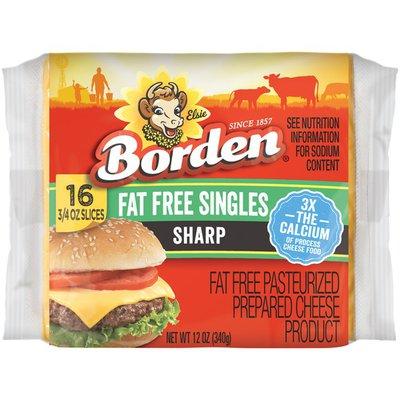Borden Fat Free Sharp Cheddar Singles Cheese