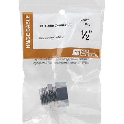Pro Connex Connector, UF Cable, 1/2 Inch