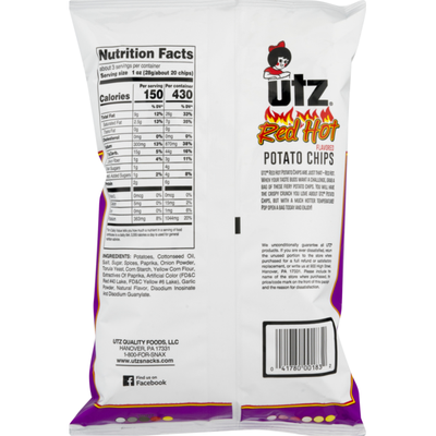 Utz Potato Chips Red Hot