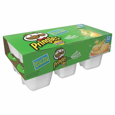 Pringles Potato Crisps Chips, Sour Cream and Onion, Lunch Snacks