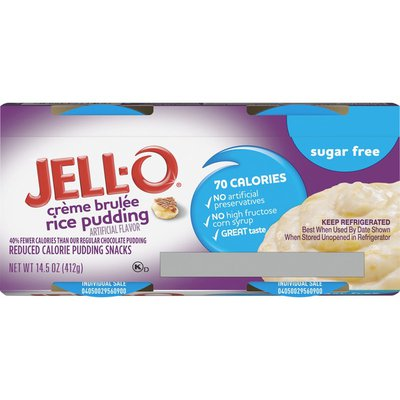 Jell-O Creme Brulee Sugar Free Ready-to-Eat Rice Pudding Snacks