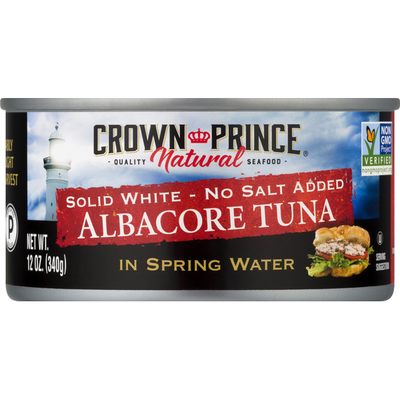 Crown Prince Natural Albacore Tuna, No Salt Added, Solid White, In Spring Water