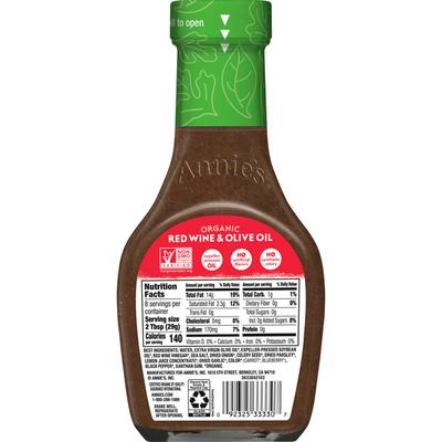 Annie's Organic Red Wine & Olive Oil Vinaigrette Salad Dressing, Non-GMO