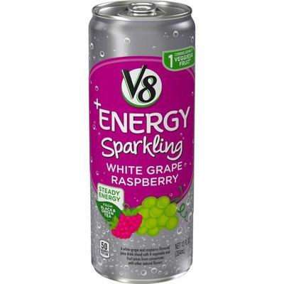 V8® Sparkling Healthy Energy Drink, Natural Energy from Tea, White Grape Raspberry