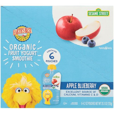 Earth's Best Sesame Street Apple Blueberry Organic Fruit Yogurt Smoothie