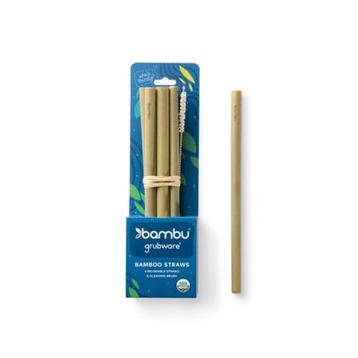 bambu Original Green Bamboo Straws. Set of 6