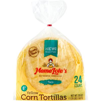 Mama Lola's Corn Tortilla, Yellow, Taco, 6 Inch