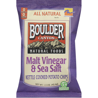 Boulder Canyon Potato Chips, Kettle Cooked, Malt Vinegar & Sea Salt