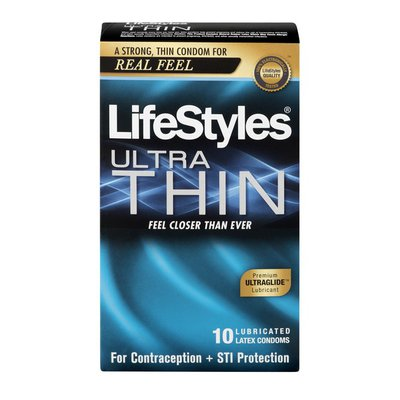LifeStyles Ultra Thin Premium Lubricated Latex Condoms - 10 CT