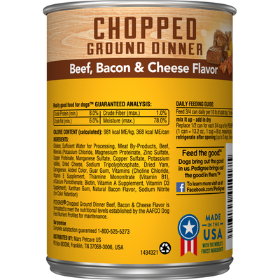 Pedigree Dog Food, Beef, Bacon & Cheese Flavor, Chopped Ground Dinner