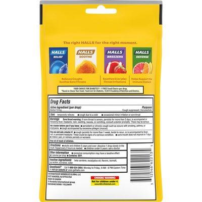 Halls Sugar Free Honey Lemon Cough Drops