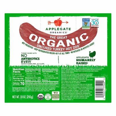 Applegate The Great Organic Uncured Turkey Hot Dog
